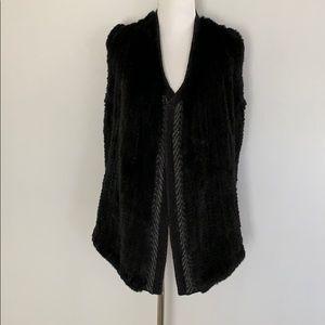 Vince Fur and Knit Open Front Vest